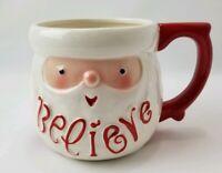 Hallmark Flowers Over Sized Mug Santa Believe White Red Detail
