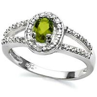 Genuine Peridot oval cut & 2 diamonds  Sterling Silver Ring White Gold over