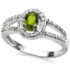 PERIDOT RING oval cut & diamond cocktail Sterling Silver Ring White Gold over