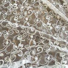 """47"""" Sequin Embroidery Corded Lace Fabric Material DIY Bridal Wedding Dress 0.5 M"""