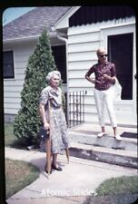 1963 35mm color photo slide  Lady on crutches with box camera