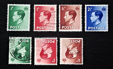 Great Britain - 1936 Set of 4 & 3 Values with Inverted Watermarks - Mh & Used