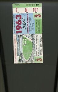 1963 World Series Ticket Game 3 MANTLE  DRYSDALE Yankees Dodgers