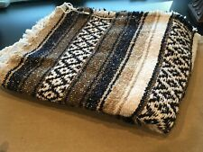 Earth Ragz Indian Southwestern Navy Blue Brown & Ivory Woven Nubby Throw Blanket