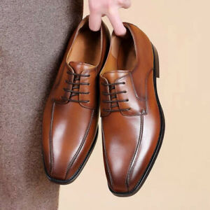 Mens Business Casual Square Toe Lace Up Oxfords Faux Leather Party Dress Shoes