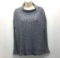 Free People Sweater Womens Size M Navy Marled Raw Edge Mock Neck Long Sleeve