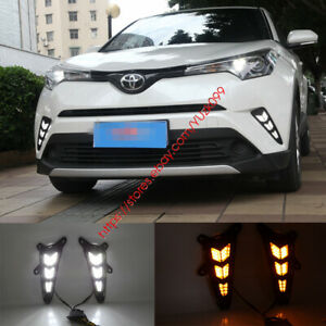 New White/Amber LED Switchback Side Signal DRL Running Light For Toyota C-HR CHR