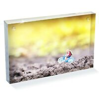 """Miniature Cyclist Bicycle Photo Block 6 x 4"""" - Desk Art Office Gift #12514"""