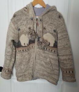 KYBER Outerwear- 100% Wool Knit Zip Up Sweater Hoodie w Bears NEPAL Size M