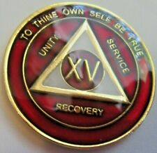 Alcoholics Anonymous 15 Year Burgundy Red Aa Medallion coin Chip Token Sobriety