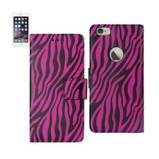 For iPhone 6 / 6S Plus Case Leather Wallet Zebra Print Card Holder Hot Pink