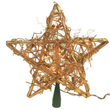 Rattan Star Christmas Tree Top, Gold, 12-Inch