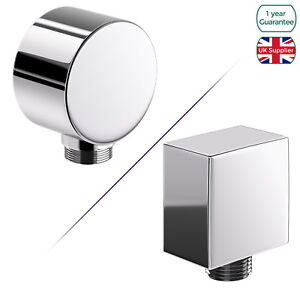 """BATHROOM SQUARE ROUND SHOWER HOSE WALL OUTLET ELBOW CHROME CONNECTOR 1/2"""" BSP"""
