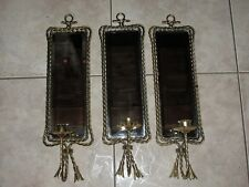 VTG HOME INTERIOR Gold Metal TWISTED ROPE Candle Holders/Sconce Mirror~SET OF 3