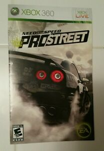 Xbox 360 Need for Speed Prostreet Instruction Booklet Insert Only Microsoft