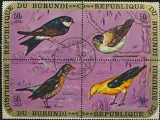 Birds Se-tenant Block of 4 Stamps Burundi Airmail Scott # C137 (CTO)