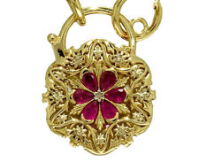 Superb Genuine 9K Yellow Gold NATURAL Ruby Daisy PADLOCK Clasp Victorian Pendant