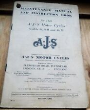 Maintenance Manual and Instruction book- for 1946 - A.J.S. Motor Cycles - Moto -