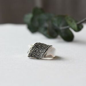 925 Sterling Silver Marcasite Statement Ring