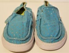 Sanuk Slip On Children's Shoes Turquoise With Silver X And O Design Size 10