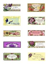 French Soap Labels Violets Lilacs Mini Fabric Blocks FrEE ShiPPinG WoRld WiDE