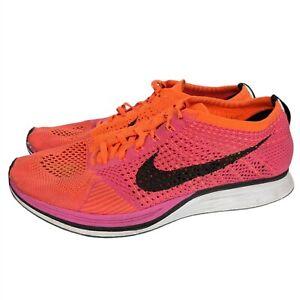 Nike Flyknit Racer Men's Size 11 Pink Flash-Black Hyper Crimson 526628-600