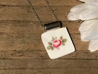 Recycled Broken Porcelain Jewelry, Pink Rose Pendant