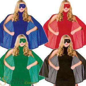 Ladies Adult Superhero Mask & Cape Halloween Fancy Dress Costume Outfit