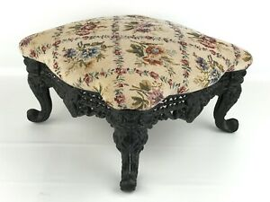 Victorian Style Cast Iron Foot Stool Floral Upholstery