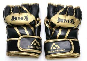 Brace Master MMA Gloves UFC Gloves Boxing Gloves for Men Women Leather Padded, S