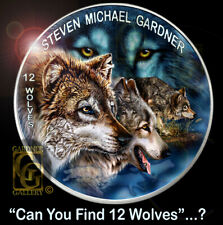12 WOLVES 1oz SILVER 2019 Limited USA Coin +Free 2011 SILVER Timber WOLF Canada