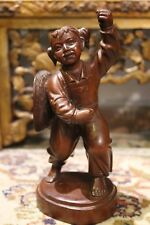 Antique Chinese Carved Hardwood Girl Figurine Figure