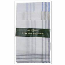 Mens Poly Cotton Colour or White Border Hankies Handkerchiefs 5 Pieces Xmas Gift