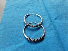 Vintage Solid Sterling Silver loop Hoop Stamped 925 Earrings Boho Tribal Pierced