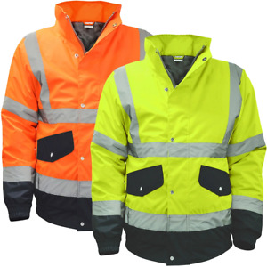 High Vis Bomber Work Jacket Safety High Visibility Jackets Waterproof Coat