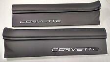 2005-2013 Corvette Door Sill Protectors Black w/ Silver Logo) C6