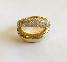 Estate 18k Signed Mauboussin Ring With Pave Diamonds