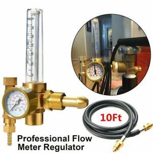 """Argon CO2 Mig Tig Flow Meter Regulator Welding Gas Welder Gauge w/ 10"""" Gas Hose"""