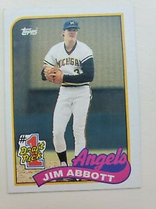 Jim Abbott Rookie NCAA Wolverines MLB Angels RC 1989 Topps Baseball Card 573