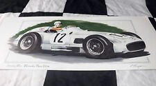 MERCEDES BENZ W 196 STIRLING MOSS 1ST WIN AINTREE GP 1955 NEW PAINTING PRINT ART