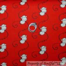 BonEful Fabric FQ Cotton Quilt Red Brown Black S Stripe Cream Monkey Baby Calico