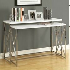 Monarch GLOSSY WHITE / CHROME METAL 2PCS CONSOLE TABLE SET I-3027 TABLE NEW