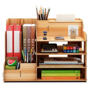 Büro Organisator Schreibtisch Organizer Holz +Stifthalter+ Dokumentenhalter DE