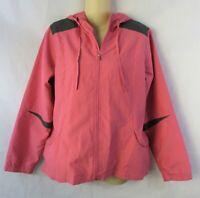 Tek Gear Women's Full Zip Hooded Jacket Size Medium Pink Gray Lightweight Casual