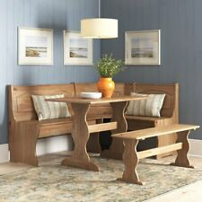 New ListingKitchen Nook Breakfast Set Solid Pine Dining Table 3 Benches Natural Light Brown