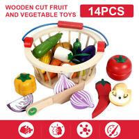 14Pcs Wooden Kids Cut Up Fruit Vegetable Food Toys Basket Kids Pretend Role Play