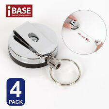 Retractable Recoil Key Ring Metal Steel Pull Chain ID Holder Belt Clip Extend