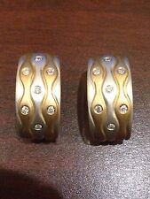 14kt Two-Tone  Solid Gold Earrings With .28 Carat Diamonds