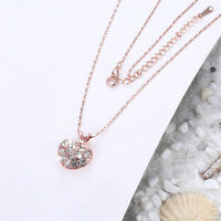 Wholesale 18K Rose Gold Filled Clear Cubic Zirconia Love Heart Pendant Necklace