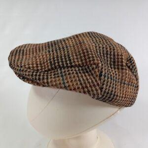 London Fog Wool Cabbie Hat Mainhats Tweed Newsboy Driving Cap Brown Vtg